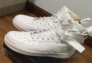 耐克SF-AF1纯白实物开箱 Nike SF Air Force 1 Mid Triple Lvory细节鉴赏